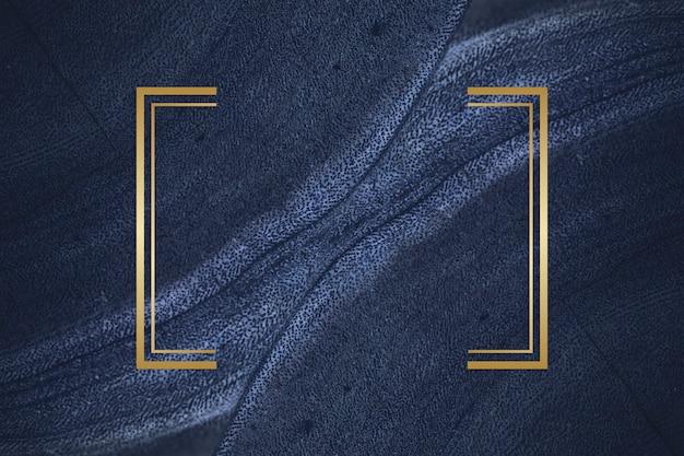 Goldener rahmen auf einem blauen strukturierten stein