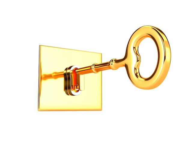 Goldener schlüssel im schlüsselloch lokalisiert auf weißem hintergrund. 3d darstellung.