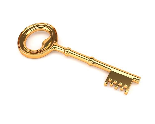 Goldener schlüssel lokalisiert auf einem weißen hintergrund. 3d darstellung.