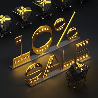 Goldener schriftzug 10% sale mit diamanten und karren und geschenkboxen auf schwarz