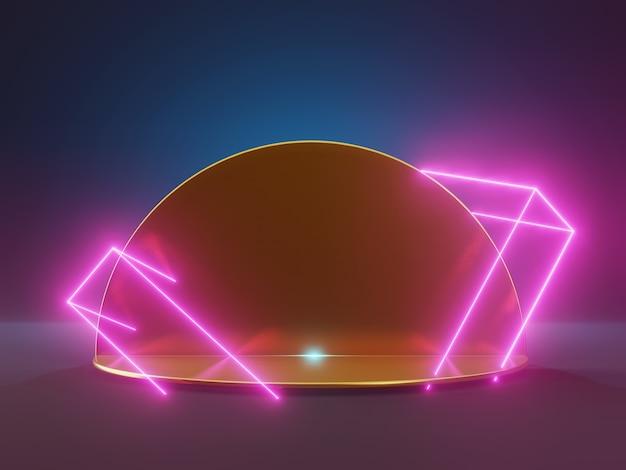 Goldener sockel 3d rendern mit neonlichtern. abstrakte produktanzeige im futuristischen stil. laser