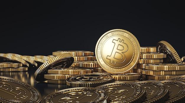 Goldener stapel von bitcoins (btc). für den kryptowährungsmarkt wird der token-austausch gefördert. 3d-rendering