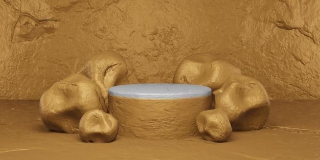 Goldener stein mit podium zur anzeige. produktpräsentation, 3d-rendering