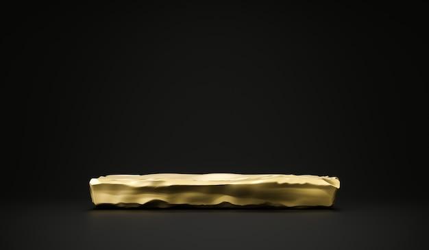 Goldener steinplattenprodukthintergrundständer oder podiumsockel auf anzeigenraumanzeige mit leeren hintergründen. 3d-rendering.