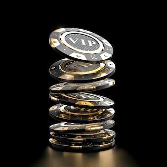 Goldener vip kasinochip 3d