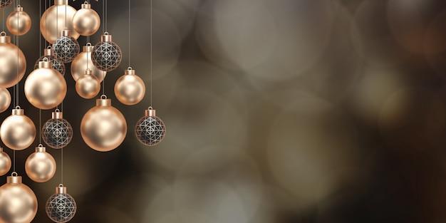 Goldener weihnachtsball goldener bokeh-hintergrund