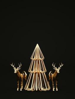 Goldener weihnachtsbaum mit hirschen auf schwarzem d rendern