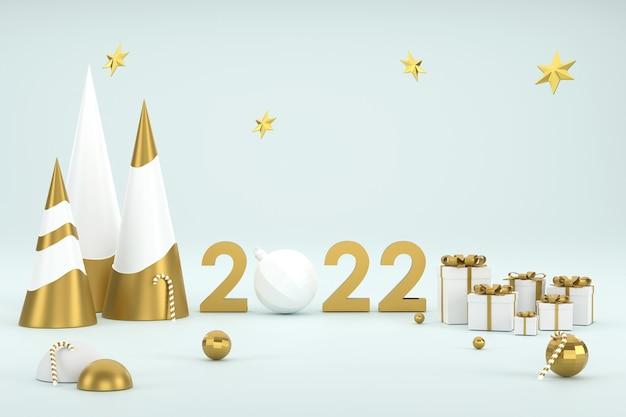 Goldener weihnachtsbaumballon und prodium zur produktpräsentation beim weihnachtsfest 2022