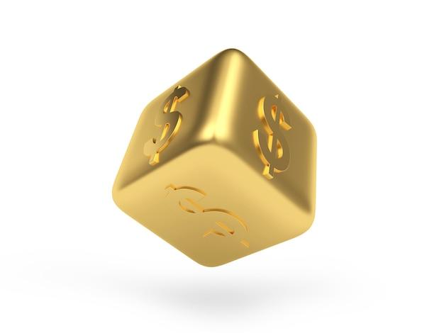Goldener würfel mit dollarzeichen