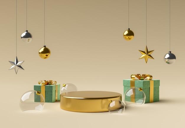 Goldener zylinder mit glaskugeln und weihnachtsschmuck