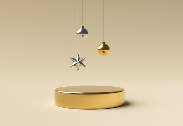 Goldener zylinder mit weihnachtsschmuck