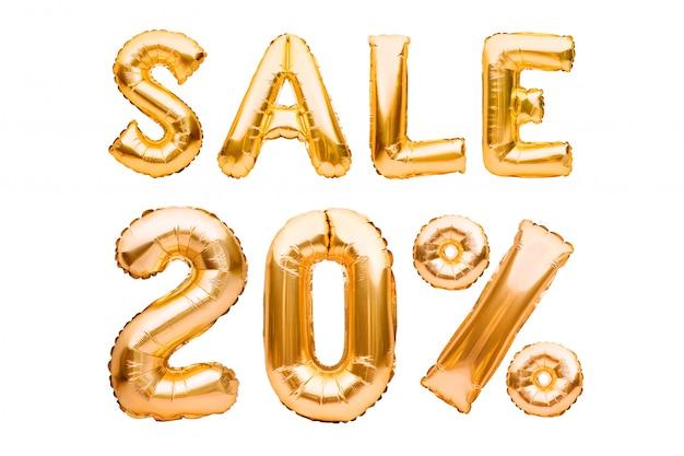 Goldenes 20-prozent-verkaufsschild aus aufblasbaren luftballons, isoliert auf weiß. heliumballons, goldfoliennummern.