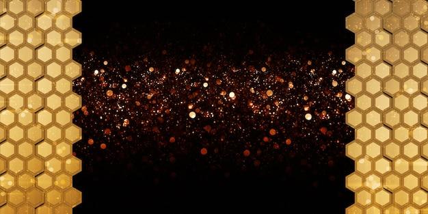 Goldenes abstraktes sechseck goldene wabenwand elegantes bokeh 3d-darstellung