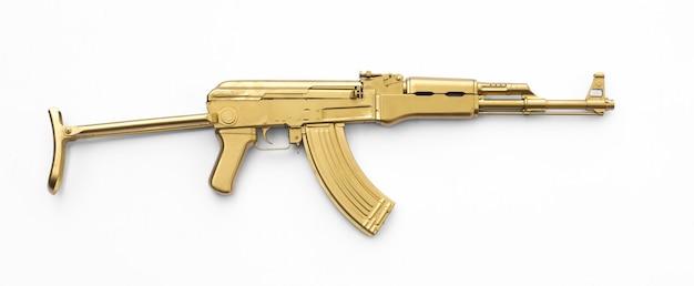 Goldenes ak47-sturmgewehr isoliert auf weißem hintergrund