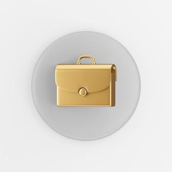 Goldenes aktenkoffer-symbol. grauer runder schlüsselknopf des 3d-renderings, schnittstelle ui ux element.