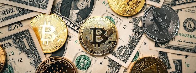 Goldenes bitcoin-image der kryptowährung für kryptowährung