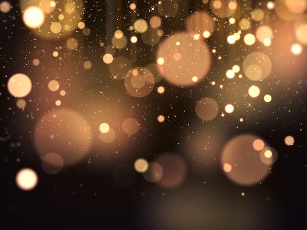 Goldenes bokeh verleiht glamour-hintergrund