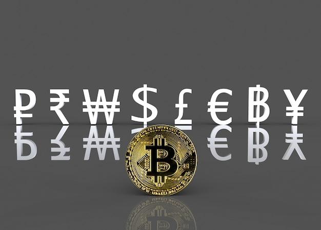 Goldenes cryptocurrency auf der front des weißen internationalen währungszeichens