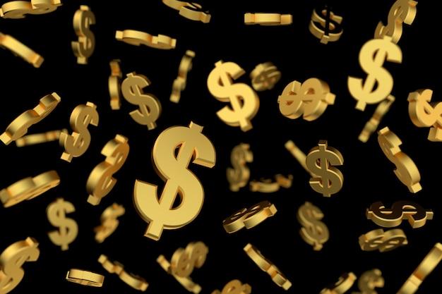 Goldenes dollarzeichen mit weichzeichnung