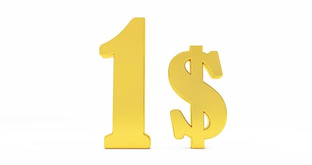 Goldenes ein-dollar-zeichen isoliert