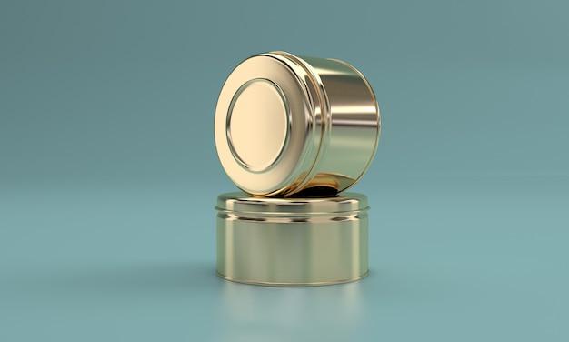 Goldenes essen in metalldose Premium Fotos