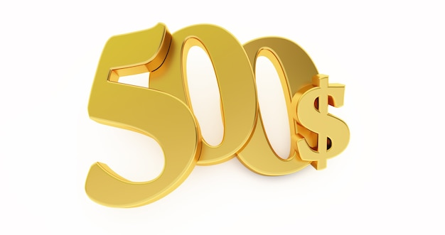 Goldenes fünfhundert dollarzeichen lokalisiert auf weißem hintergrund