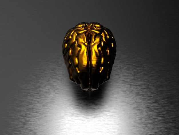 Goldenes gehirn auf schwarzer oberfläche