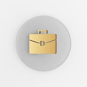 Goldenes geschäft aktenkoffer-symbol. grauer runder schlüsselknopf des 3d-renderings, schnittstelle ui ux element.