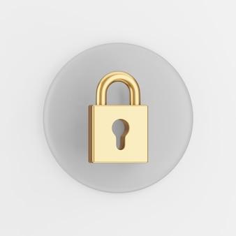 Goldenes geschlossenes vorhängeschloss-symbol. grauer runder schlüsselknopf des 3d-renderings, schnittstelle ui ux element.
