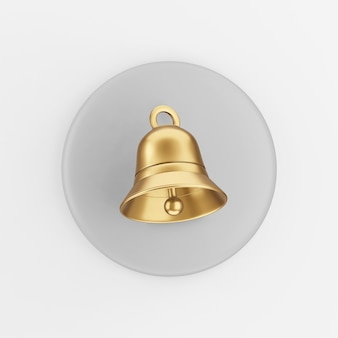 Goldenes glockensymbol. grauer runder schlüsselknopf des 3d-renderings, schnittstelle ui ux element.