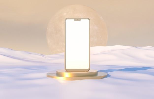 Goldenes handy mit vollmond auf winterszene. app präsentation