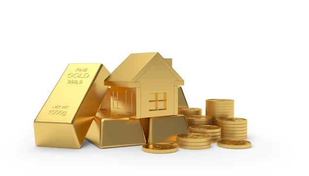 Goldenes haus auf münzen und barren