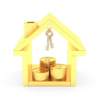 Goldenes haus mit schlüsseln und münzen im inneren