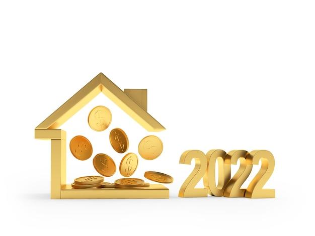 Goldenes haussymbol mit münzen und neujahrsnummer