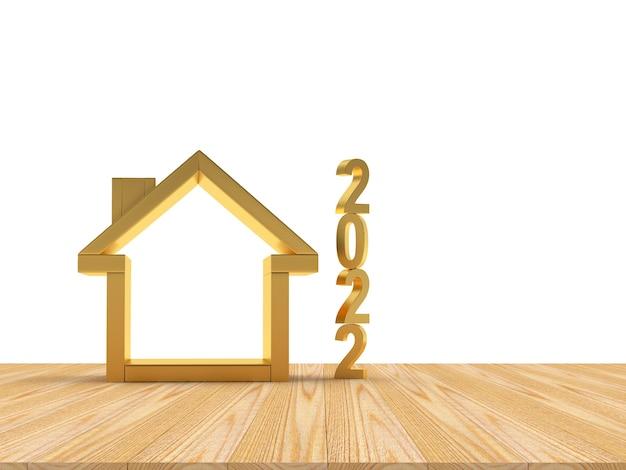 Goldenes haussymbol mit neujahrszahl