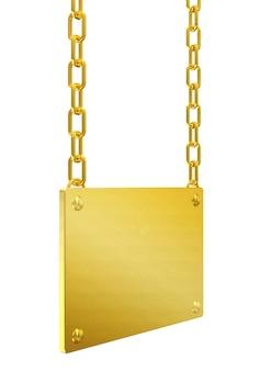 Goldenes leeres brett mit ketten