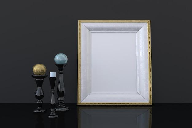 Goldenes leeres fotorahmenmodell mit dekor