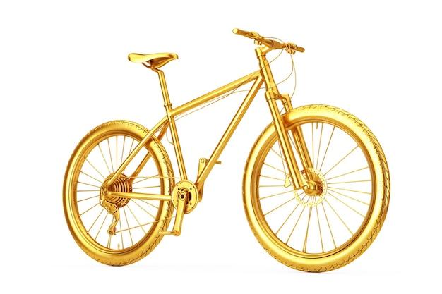 Goldenes mountainbike auf weißem hintergrund. 3d-rendering