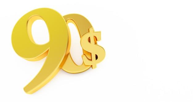 Goldenes neunzig-dollar-zeichen lokalisiert auf weißem hintergrund