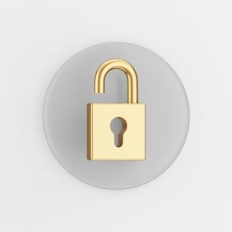 Goldenes offenes vorhängeschlosssymbol. grauer runder schlüsselknopf des 3d-renderings, schnittstelle ui ux element.