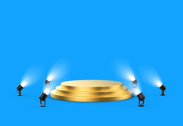 Goldenes podium auf blauem hintergrund mit scheinwerfern