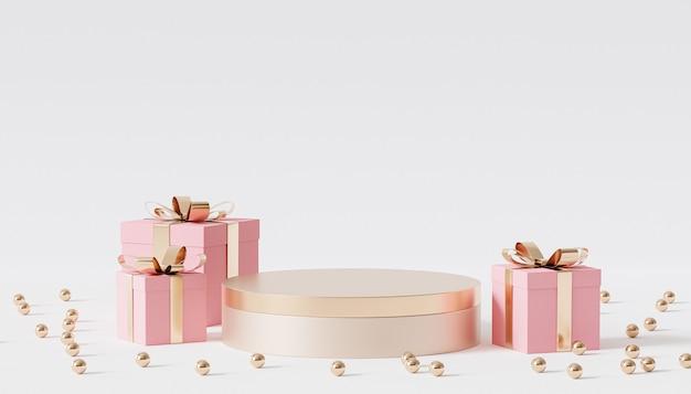 Goldenes podium oder podest für produkte oder werbung mit geschenkboxen, 3d-rendering