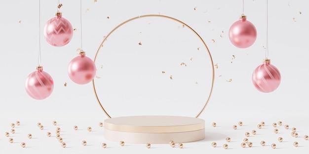 Goldenes podium oder podest für produkte oder werbung mit kugeln und konfetti, 3d-rendering