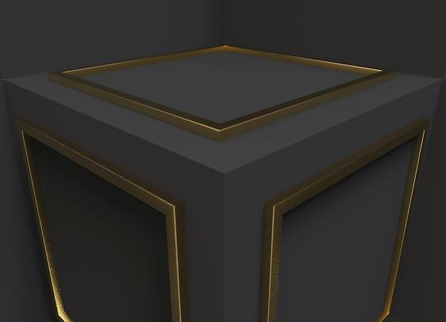 Goldenes quadrat form muster auf dunklen cube boxes cornor hintergrund.