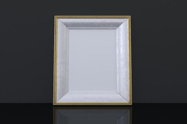 Goldenes rahmenmodell mit schwarzem hintergrund Premium Fotos