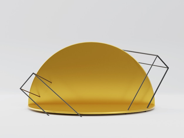 Goldenes rundes podium. 3d-render-sockel für produkte.