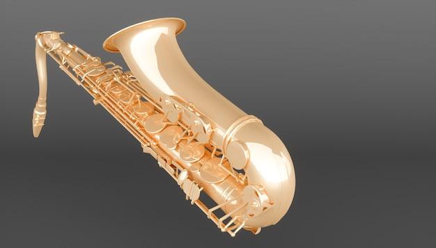 Goldenes saxophon auf einem schwarzen hintergrund, 3d illustration
