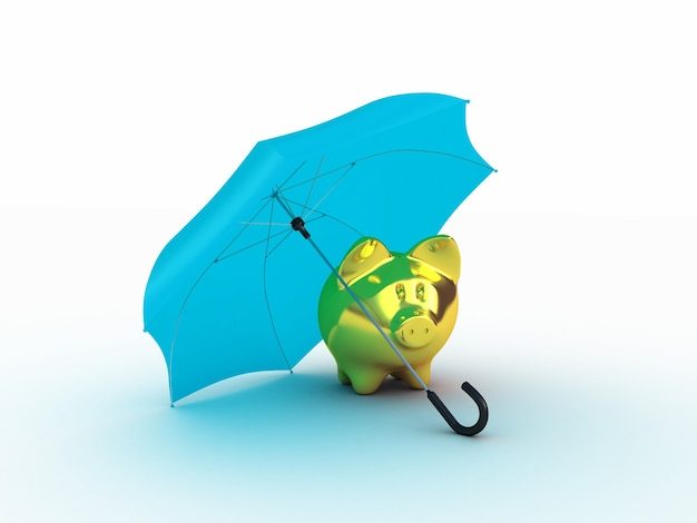 Goldenes schweinchen unter regenschirm. 3d-illustration