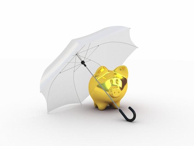 Goldenes schweinchen unter regenschirm.