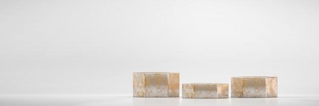 Goldenes sechseck-bühnenpodestplattform für 3d-rendering der werbeproduktanzeige im hintergrund